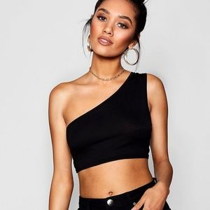 Tops - One shoulder crop tank black